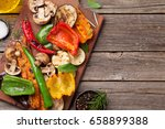 Grilled Vegetables On Cutting...