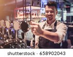 cheerful bartender on a bar... | Shutterstock . vector #658902043