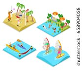 isometric outdoor sea beach... | Shutterstock .eps vector #658904038