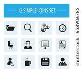 set of 12 editable bureau icons....