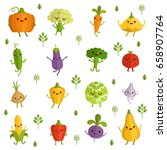 vegetables characters with... | Shutterstock .eps vector #658907764