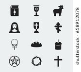 set of 12 editable faith icons. ... | Shutterstock .eps vector #658912078