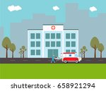flat illustration of hospital... | Shutterstock .eps vector #658921294