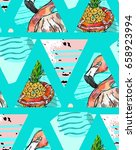 hand made exotic seamless... | Shutterstock .eps vector #658923994