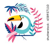 tropical background with toucan ... | Shutterstock .eps vector #658937110