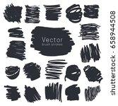 set of black ink brush strokes... | Shutterstock .eps vector #658944508