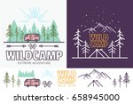 forest camp linear illustration ... | Shutterstock . vector #658945000