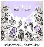 hand drawn doodle ice cream... | Shutterstock .eps vector #658950349