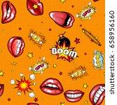 seamless pattern cartoon comic... | Shutterstock .eps vector #658956160