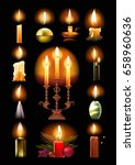 set of burning candles  classic ... | Shutterstock .eps vector #658960636