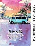 summer beach. vector card.... | Shutterstock .eps vector #658965160