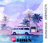 summer beach. vector card.... | Shutterstock .eps vector #658965274