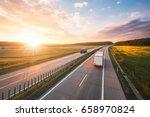 amazing sunrise on the highway... | Shutterstock . vector #658970824