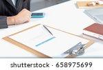 businesswoman working with... | Shutterstock . vector #658975699