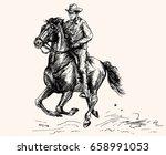 cowboy ride a horse. hand drawn ...   Shutterstock .eps vector #658991053