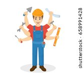 builder with six hands ... | Shutterstock .eps vector #658991428