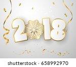 vector happy new year 2018... | Shutterstock .eps vector #658992970