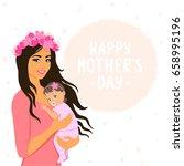 beautiful and cute cartoon... | Shutterstock .eps vector #658995196