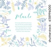 vector hand drawn floral frame... | Shutterstock .eps vector #658996000