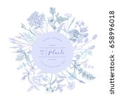 vector hand drawn floral round... | Shutterstock .eps vector #658996018