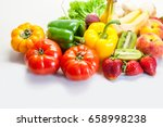 assorted fresh fruits and... | Shutterstock . vector #658998238