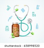 pharmacy concept with pills... | Shutterstock .eps vector #658998520