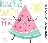 cute cartoon watermelon... | Shutterstock .eps vector #658999120