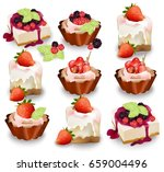 set of delicious sweets and... | Shutterstock .eps vector #659004496