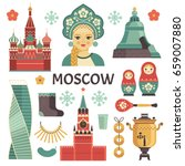 Moscow Icons Set. Vector...