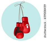 boxing leather gloves in red... | Shutterstock .eps vector #659008459