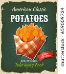 retro fast food fried potatoes... | Shutterstock .eps vector #659009734