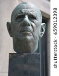 Small photo of MONTREAL CANADA 06 12 17: Bust by Alain Aslan of Charles de Gaulle to the City Hall of Montreal on 07 24 67 when he proclaimed from the balcony Vive le Quebec libre, Long Live Free Quebec