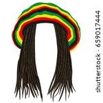 jamaican rasta hat.hair... | Shutterstock .eps vector #659017444