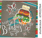 template birthday greeting card ... | Shutterstock .eps vector #659022964