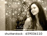 make a wish card with young... | Shutterstock . vector #659036110