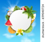 clean card with coconut... | Shutterstock .eps vector #659040724