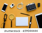 flat lay of accessories on... | Shutterstock . vector #659044444