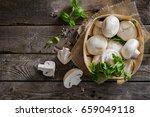 mushrooms on rustic wood...   Shutterstock . vector #659049118