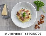 classic homemade pasta...   Shutterstock . vector #659050708
