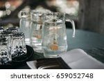 water in glass with lime on... | Shutterstock . vector #659052748