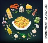 long flat fettuccine pasta dish ... | Shutterstock .eps vector #659064283