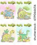cartoon cute dinosaurs set of... | Shutterstock . vector #659066656