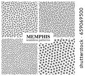 collection of memphis seamless... | Shutterstock .eps vector #659069500
