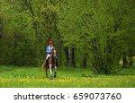 horse and rider ride cross... | Shutterstock . vector #659073760