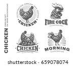 Set Chicken Illustration Emble...