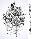 hand drawn beautiful roses in...   Shutterstock .eps vector #659084986