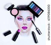 drawing portrait beauty woman...   Shutterstock . vector #659086000
