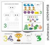 figure three. dot to dot... | Shutterstock .eps vector #659094958