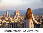 girl looking at the city of... | Shutterstock . vector #659096293