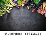 wine bottles with grapes ... | Shutterstock . vector #659116186